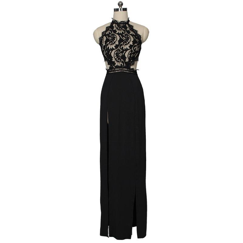 Perspective Lace Nude Back Slit Pure Patchwork Women 'S Sexy High-waisted Polyester 2021summer Maxi Dress Long Sleeve