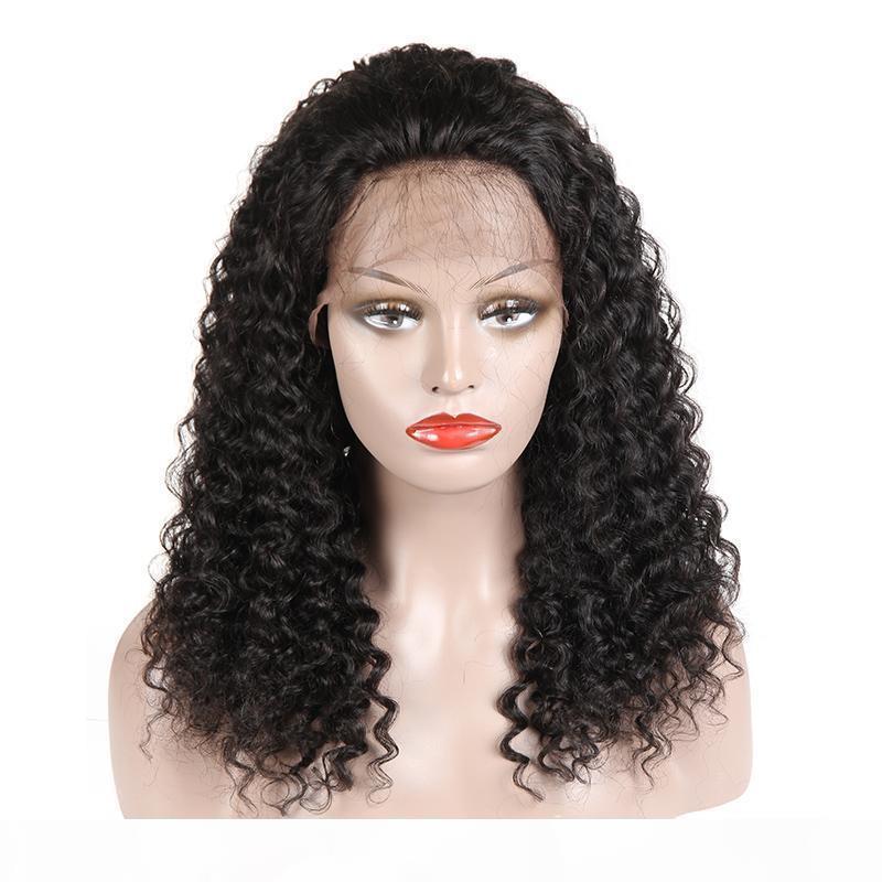 Kinky Curly Human Human Lace Front Wigs Com Cabelo Bebê Brasileiro Malásia Peruana Indiana Mongólia Curly Virgin Wigs para mulheres negras