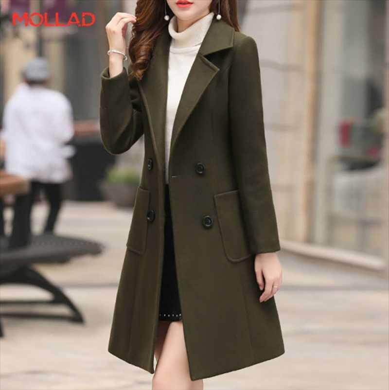 MOLLAD neuer Winter-Knopf Tasche dünne lange Umlegekragen langer Mantel
