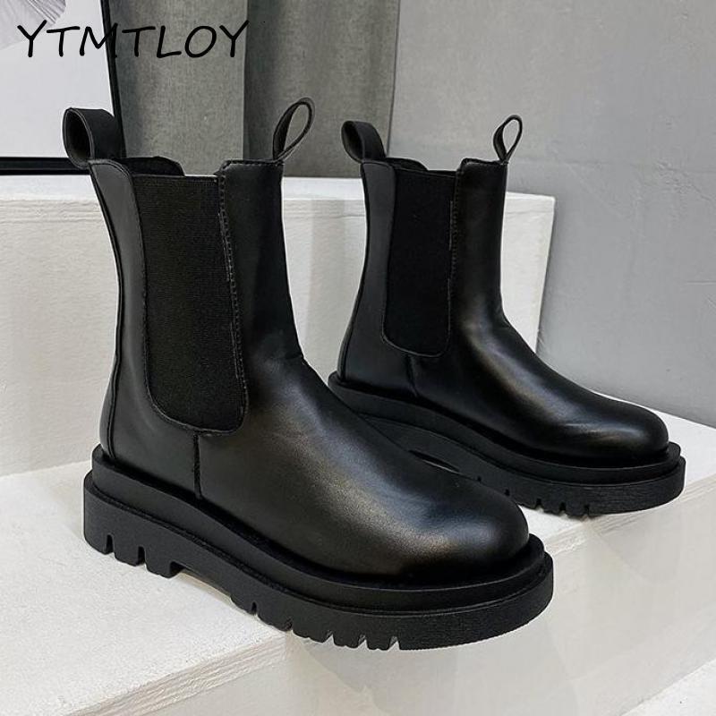 Кожа Женщины Brand осень-зима теплая Короткие Ботильоны платформы водонепроницаемый ботинки воды Non-Slip