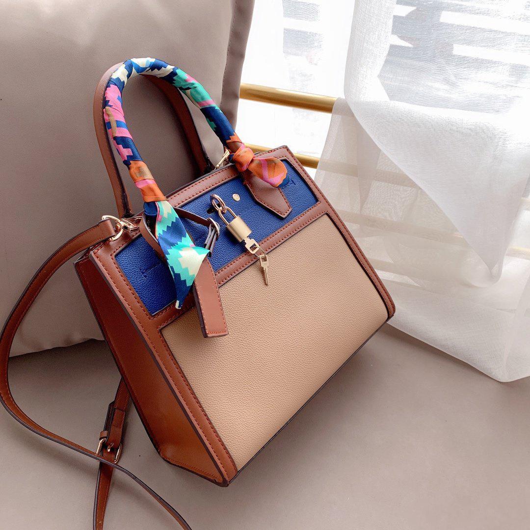 2020 Top Handbag Leather Quality Designer Bandbag Silk Scarves Genuíno Mão Ombro Alta Nova Bag Saco Mulheres Qualidade Lady Qoelg