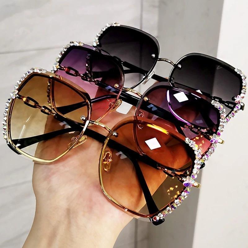 Sol Gradient Luxus Gläser Polarisierte Sonnenbrille High Sun 1006 Strass Vintage Quadrat Quadratische Brillen Lentes de Frauen Randlos Jesoi