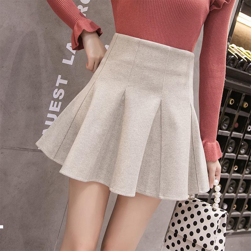 Осень 2021 новая шерсть высокого сексуального абрикоса / черная японская юбка Y378 VMX1