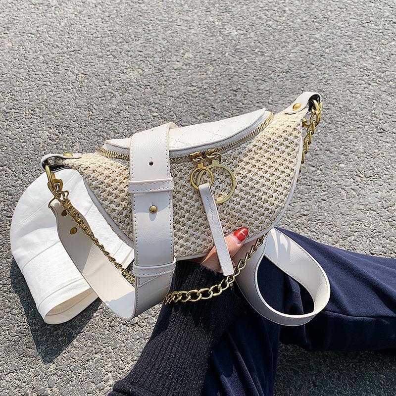 Straw Beach Bag Crossbody For Women 2021 Summer Design Female Shoulder Simple Handbag Lady Chain Travel Chest Q1107