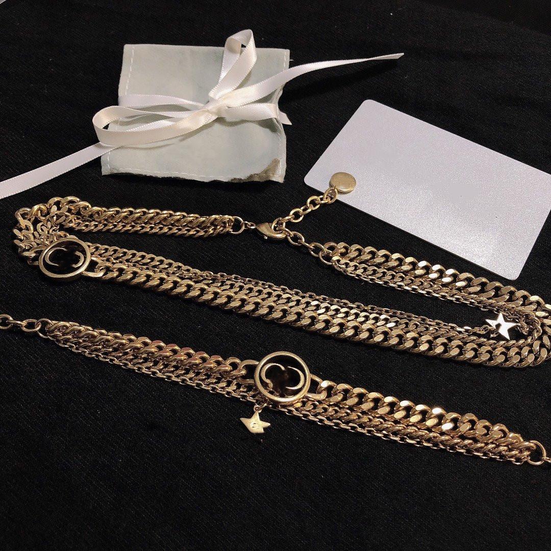 Novos brincos de jóias de colar banhado a ouro e bracelete Colar de moda para mulher de alta qualidade Long Chain Chain Supply