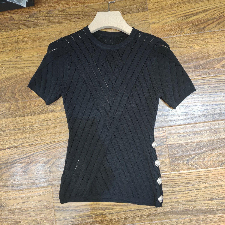 Milan Runway T-Shirt 2020 Frühling Sommer O Hals Täfelte Frauen T-Shirt Pullover Frauen Designer T-Shirt 0417-30