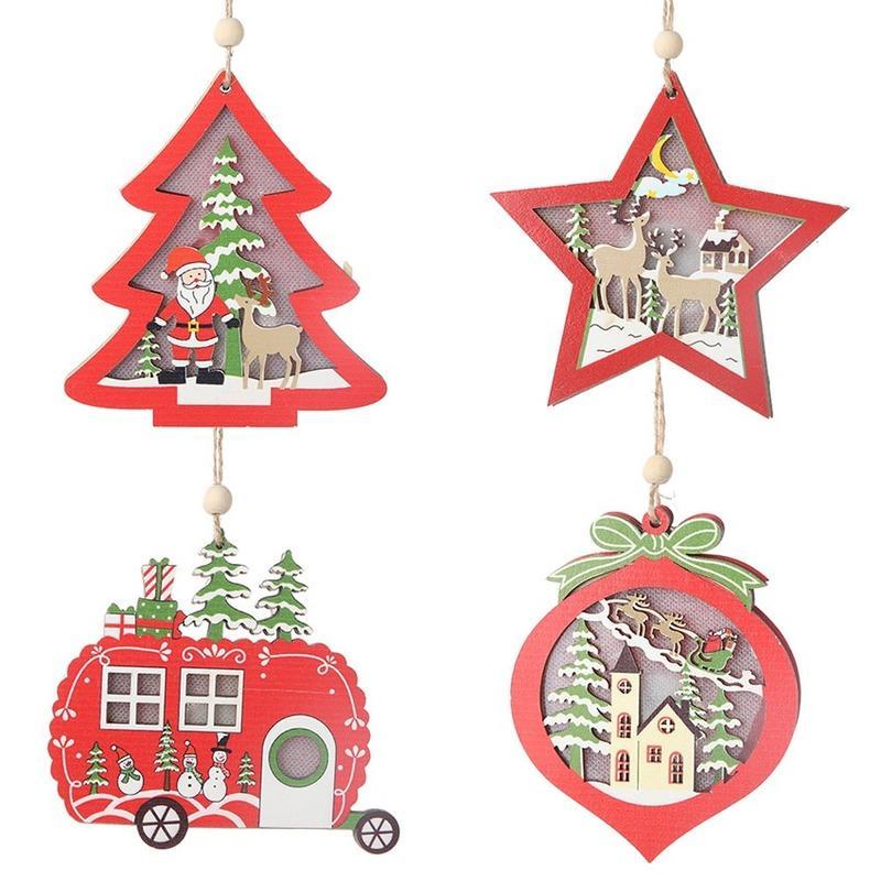 Árvore de Natal de Ano Novo LED Estrela de viaturas pingentes de madeira Ornamento do Xmas DIY Artesanato madeira para o lar de Natal decorações do partido
