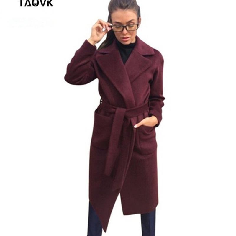 Taovk Chaquetas para mujer Abrigos Cinturón de lana de lana de larga larga capa abrigo Cuello de giro Pockets de color sólido Parka 201102