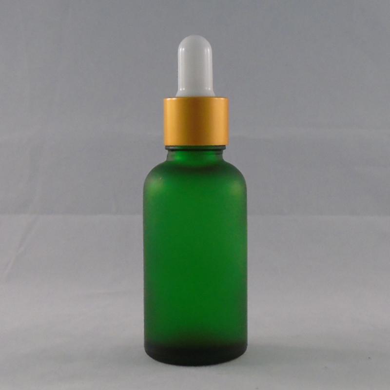 누출 방지 도매 서리 낀 녹색 유리 dropper 병 유리 자외선 오일 30ml 곰 하드 오일 병, 1oz 뚜껑 b norb에 대 한 필수 골드 라운드