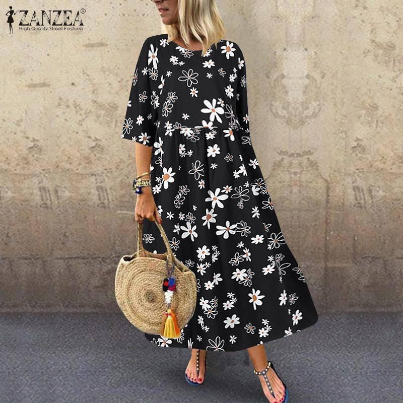 Casual 2020 Bohemian Women Dress ZANZEA Printed Vestidos Kaftan Long Maxi Sundress High Waist Half Sleeve Robe Femme Plus Size