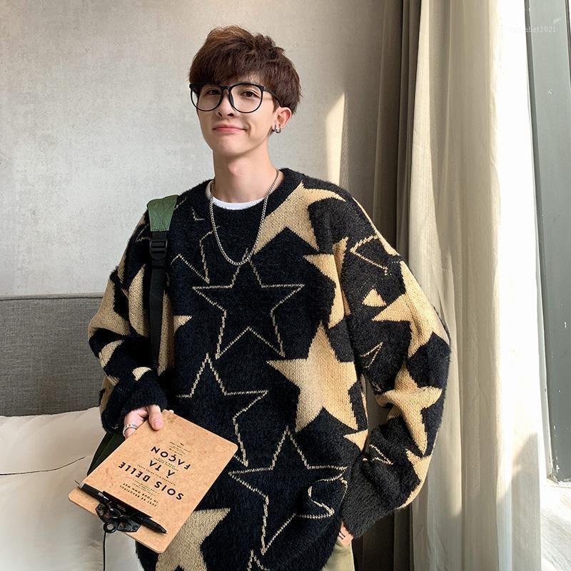 YASUGUOJI HIP SOLTE MENS Pullover Soreees Fashion Star Pattern Malha Camisola Homens Outono Casual Camisola de Natal 20201