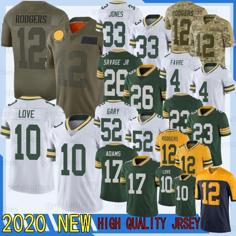 12 Aaron Rodgers 10 Love 2020 New Football Jersey 26 Darnell Savage JR 52 Rashan Gary 17 Davante Adams 69 Bakhtiari 23 Alexandre 15 Starr