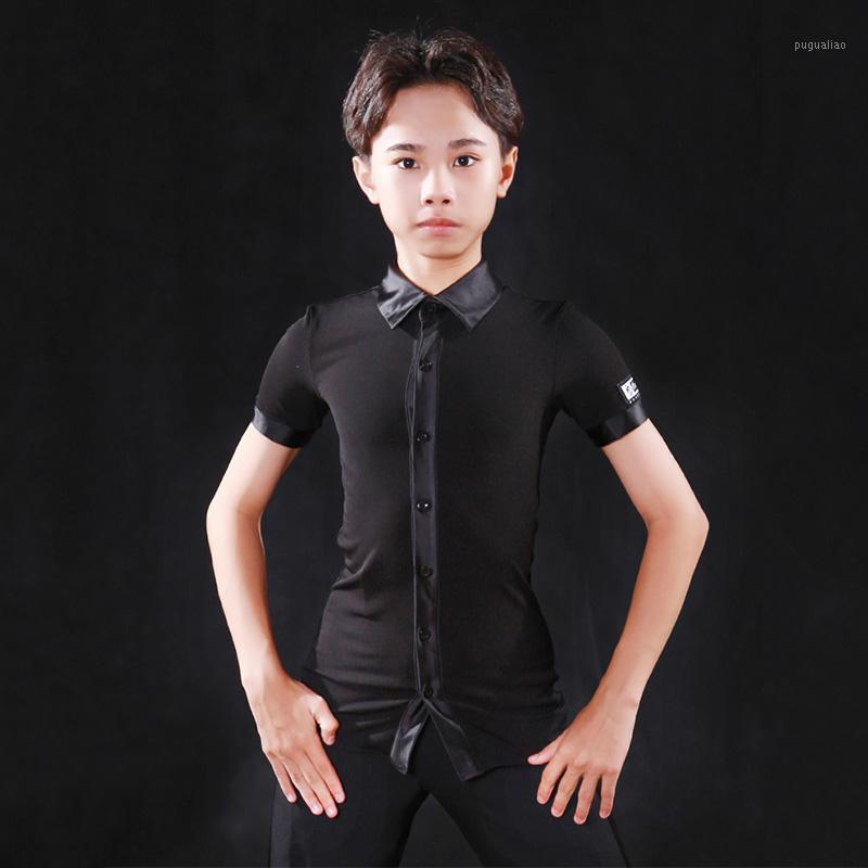 Camicia da ballo latino Bambini nero manica corta risvolto top cha cha cha tango samba salsa indossare ragazzi concorrenza performance abbigliamento DN63411