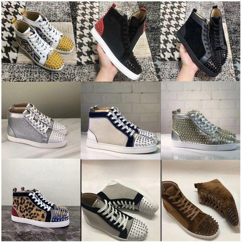 Hot 2019 sapatilhas Vermelho Botten Show Show Spike Shoes para Homens e Mulheres Sapatos Party Cristal de Cristal de Couro
