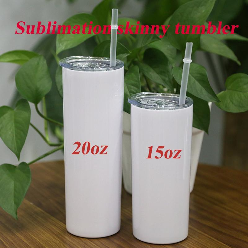 DIY 20oz Sublimation Skinny Tumbler Slim Tumbler Double Wall Stainless Steel Vacuum Insulated Coffee Mug Tapered Cup With Straw