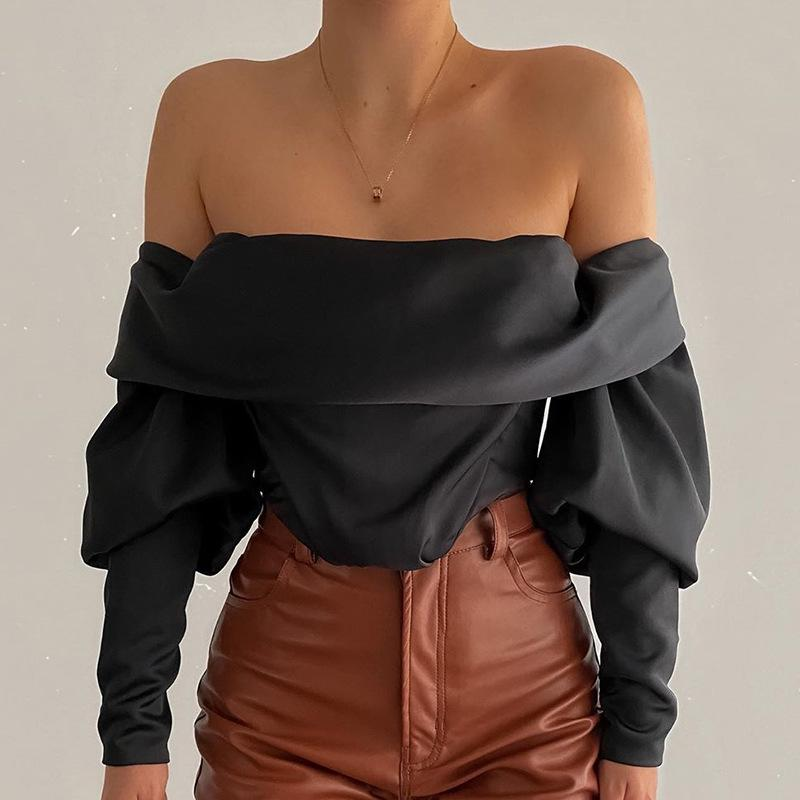 Women's Tops sexy fashion black irregular strapless Off Shoulder long sleeves T-Shirt back zipper pleated crop tops