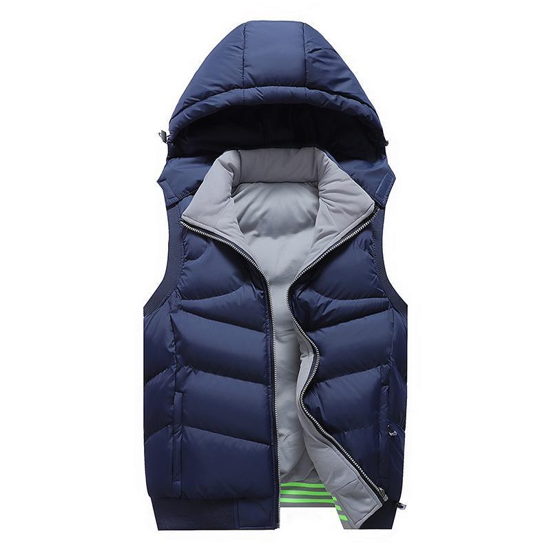 Cálido Hombres chaqueta sin mangas de los hombres de invierno para hombre de la chaqueta del chaleco del chaleco de los hombres de abajo gruesa capucha abrigos masculinos de trabajo Chaleco Homme Chalecos