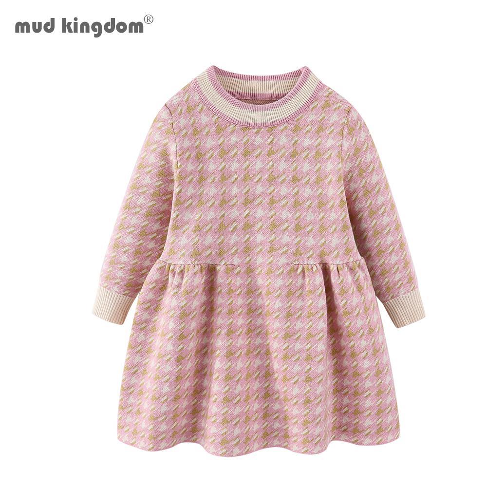 Mudkingdom criança meninas houndstooth camisola vestido pulôver malha bebê roupas vestido de camisola para menina 201166