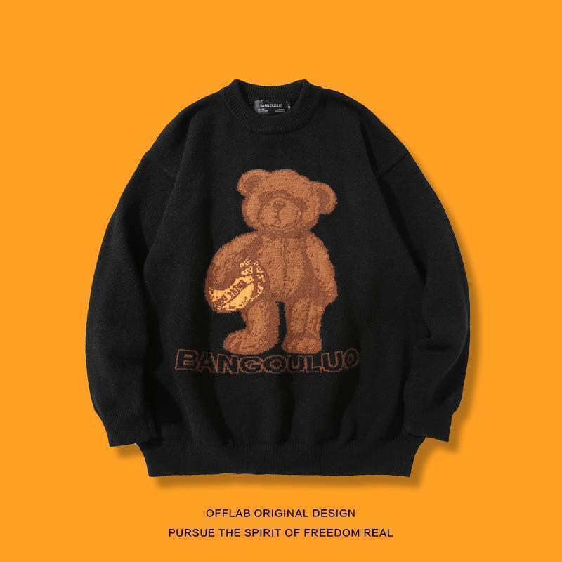 2021 новый Gangfeng медведь мультфильм человек и ленивая женщина свободный ветер свитер для трикотажных или вязаных крючков EGXH