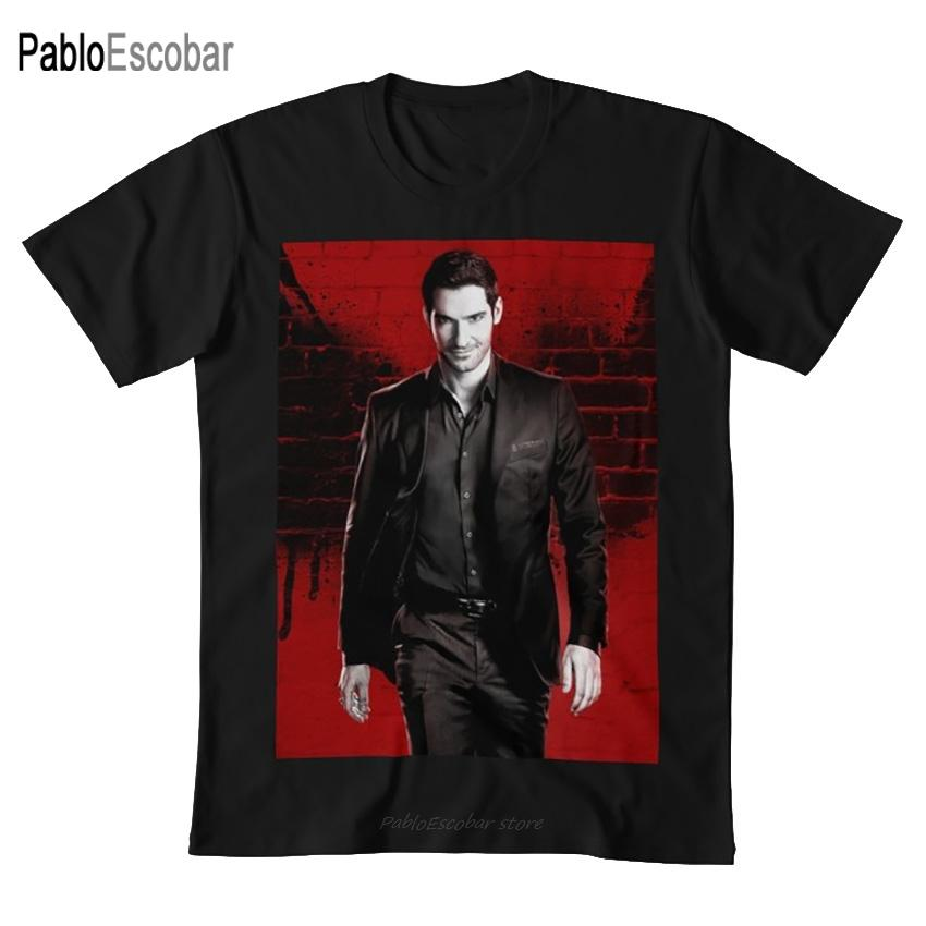 Lucifer T-shirt rouge lucifer diable los angeles costume de détective tom ellis ange netflix le sport Sweat à capuche à capuche