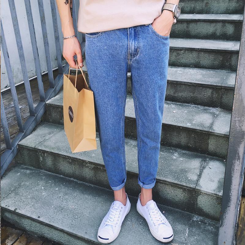 Al por mayor de 2020 adolescentes de la calle pantalones de mezclilla pantalones delgados de primavera recta de los nuevos hombres de los hombres pantalones de harén juveniles informal