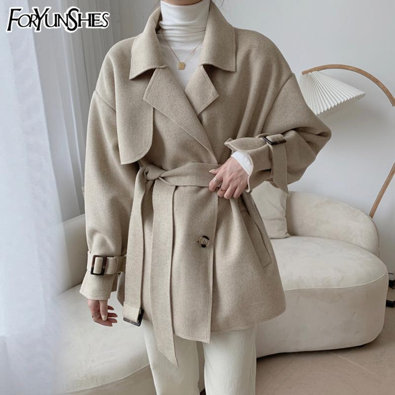 FORYUNSHES 여성 더블 직면 모직 짧은 윈드 코트 팜므 노치 칼라 벨트 슬림 따뜻한 트렌치 2020 겨울 새로운 패션