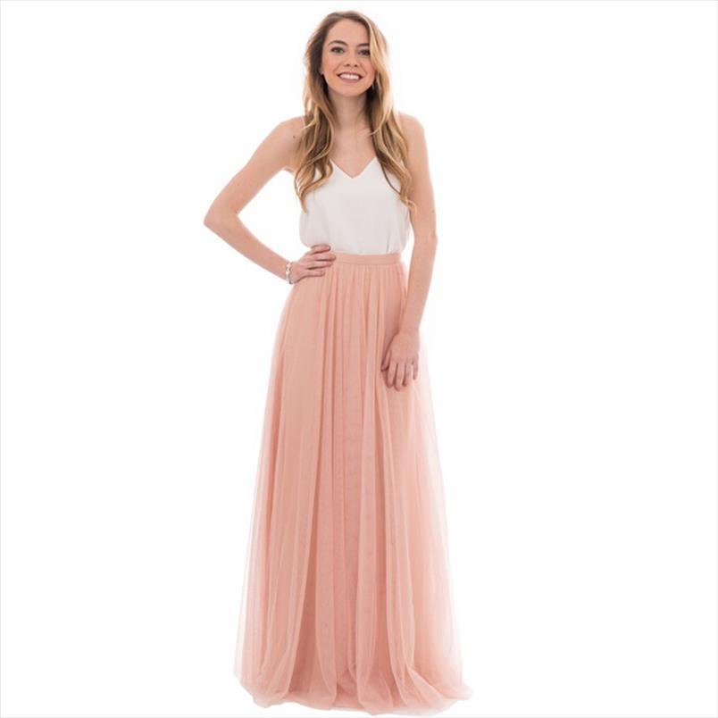 Faldas de tul largo rosa de melocotón dinámico para la dama de honor a la ficha de la cremallera de la cremallera de la fiesta de boda para las mujeres de alta calidad hecha a medida