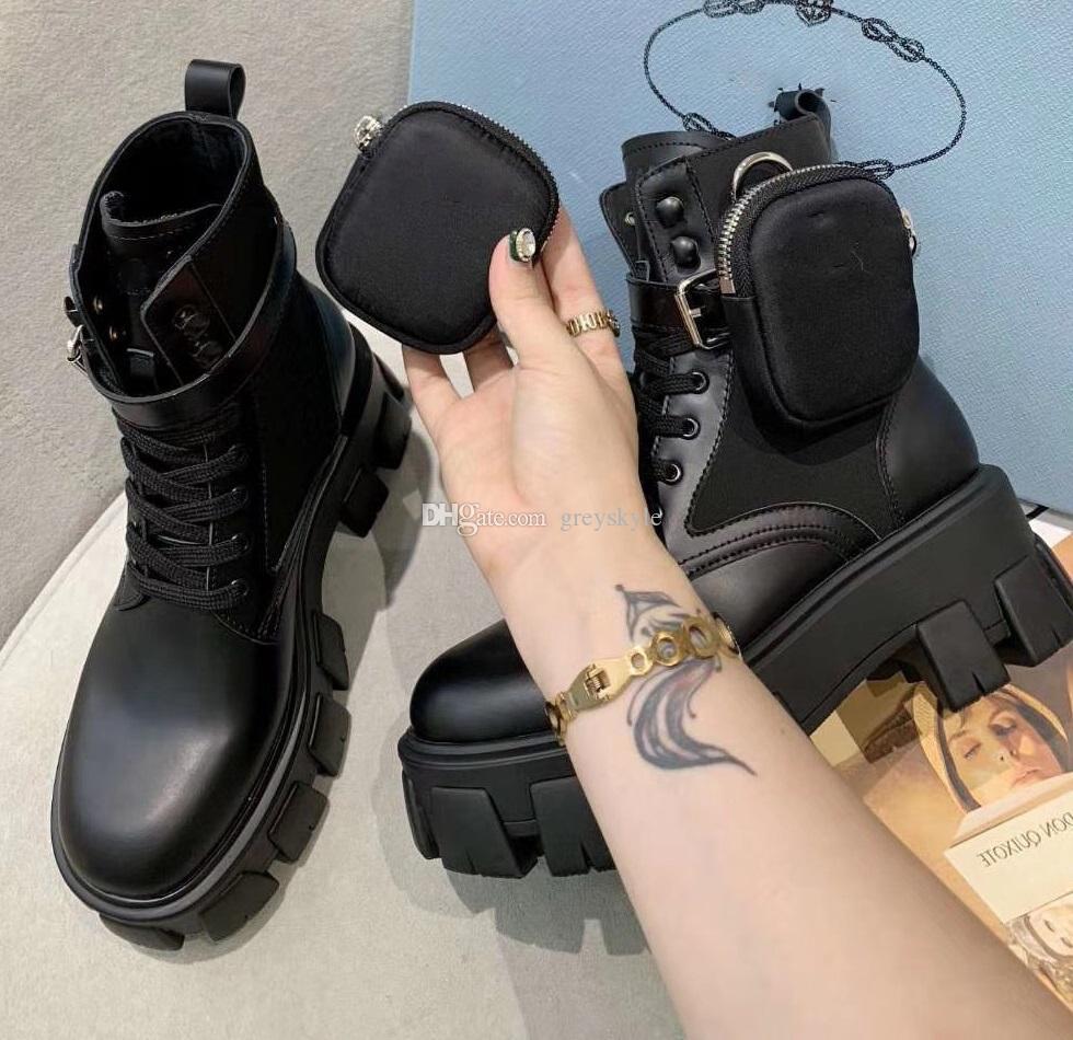 Brand Design donne di cuoio della mucca piani della piattaforma Stivaletti moda Spesso Winter Snow Boots Stretch Portafoglio di lavoro Tooling Martin Boots, 35-40