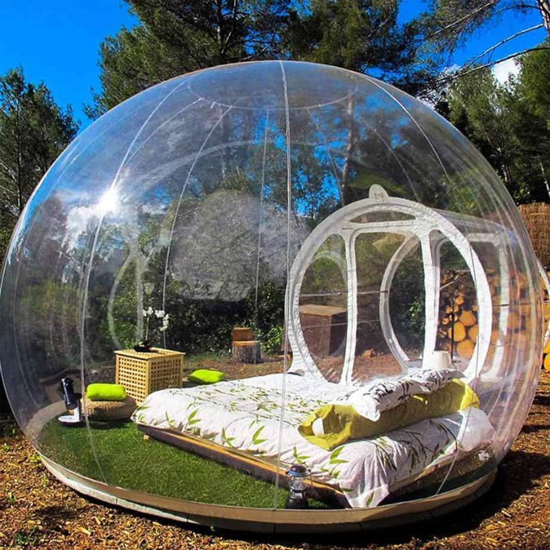 Aeor Free مروحة نفخ فقاعة البيت 3 متر / 4 متر / 5 متر ديا فقاعة خيمة ل التخييم pvc شجرة خيمة / Igloo خيمة الساخنة