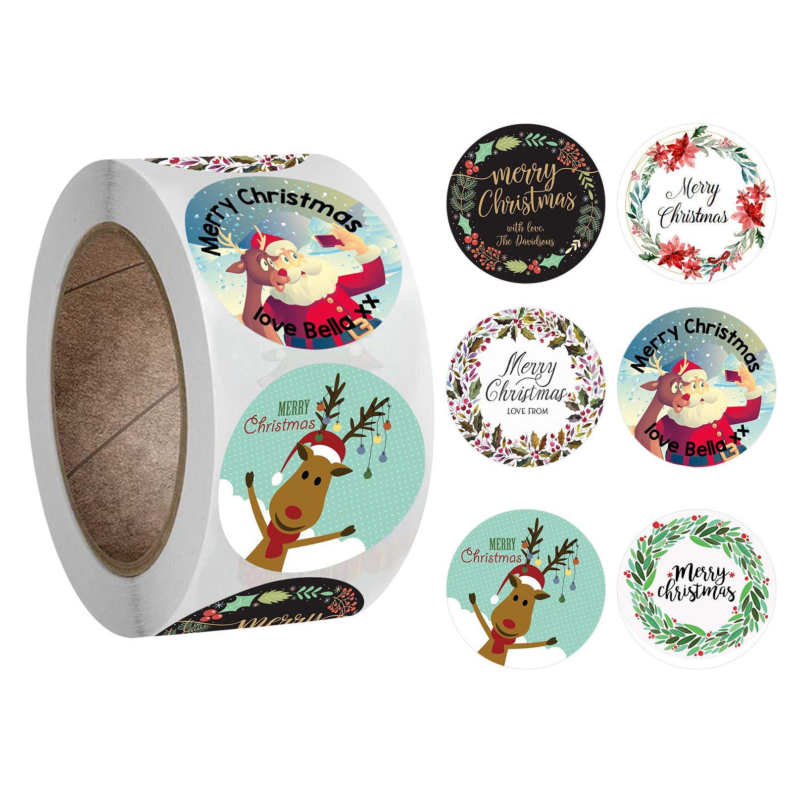 500 шт Нового пакет наклейка Праздник украшение подарки 1 Рулон Главной Merry Christmas Ornament Navidad Xmas Gifts