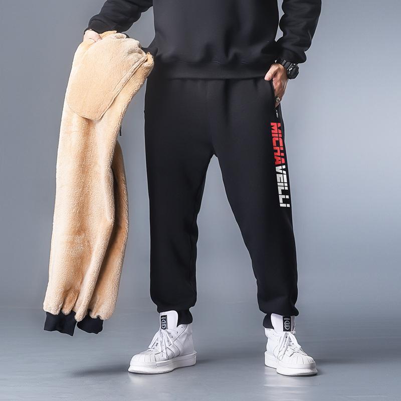 XL-7XL 2020 Veet espesando pantalones Hombres Casual Jogger Cálido Piel Sweypants Fleece Elástico Cintura Pantalones TR