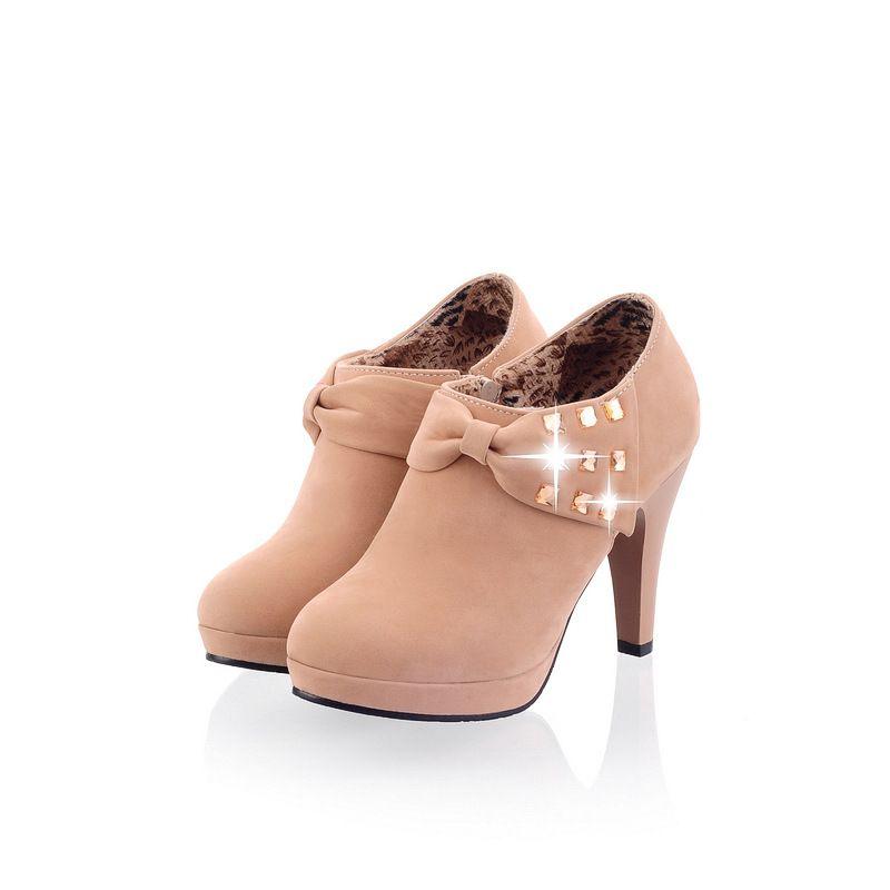 prix usine Hot Vente- nez rond bowknot plate-forme haute bottine de chaussures femmes de chaussures de talon