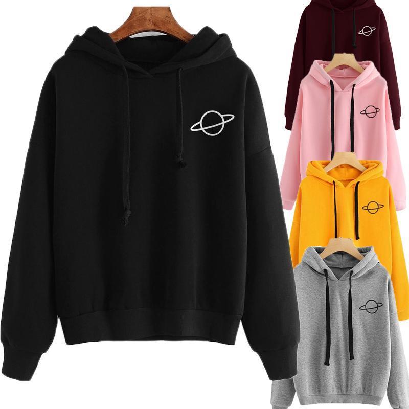 Sudaderas con capucha para mujer Casual KPOP Imprimir Sudadera suelta sólida Sudadera de manga larga con capucha 2020 otoño femenino jersey