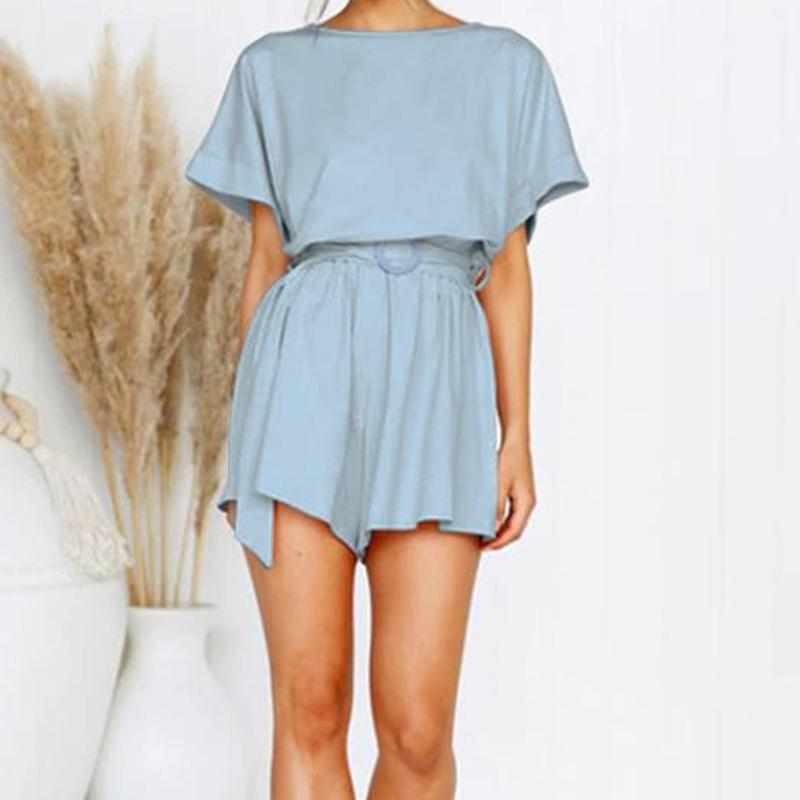 Playsuit Rompers Womens Overalls Women Playsuits 2020 Streetwear Romper Summer Lace-Up Short Sleeve T200704