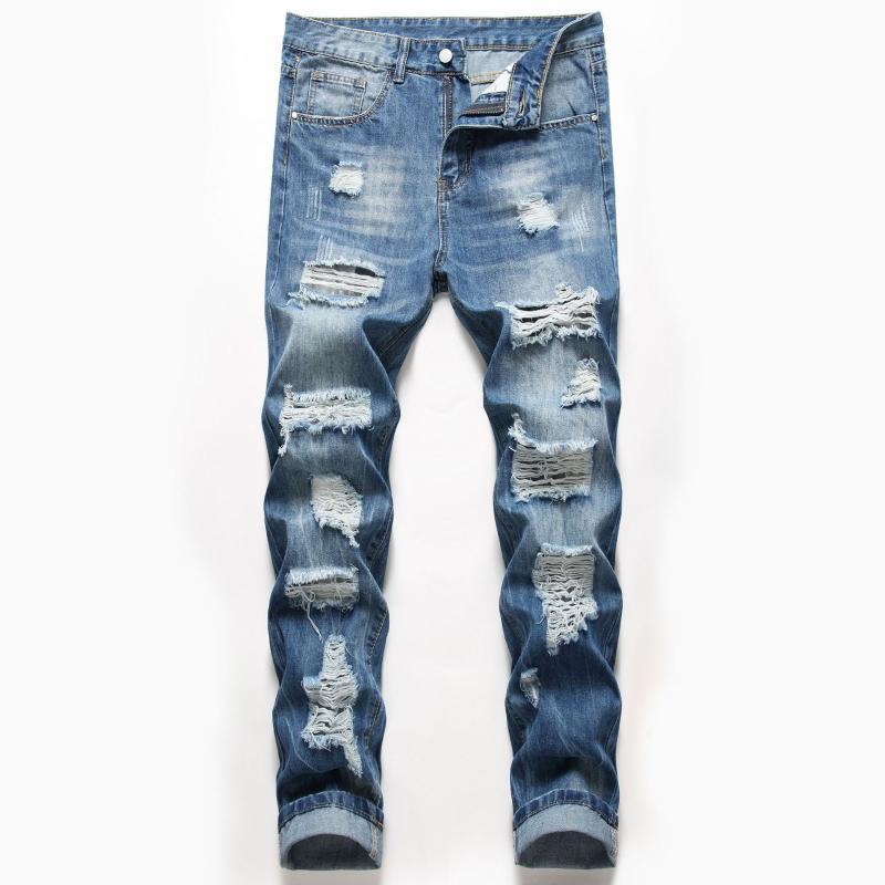 Agujero recto delgado de mezclilla jeans rasgados hombres blanqueados rayados lavados longitud completa vaquero color sólido color azul oscuro pantalón masculino
