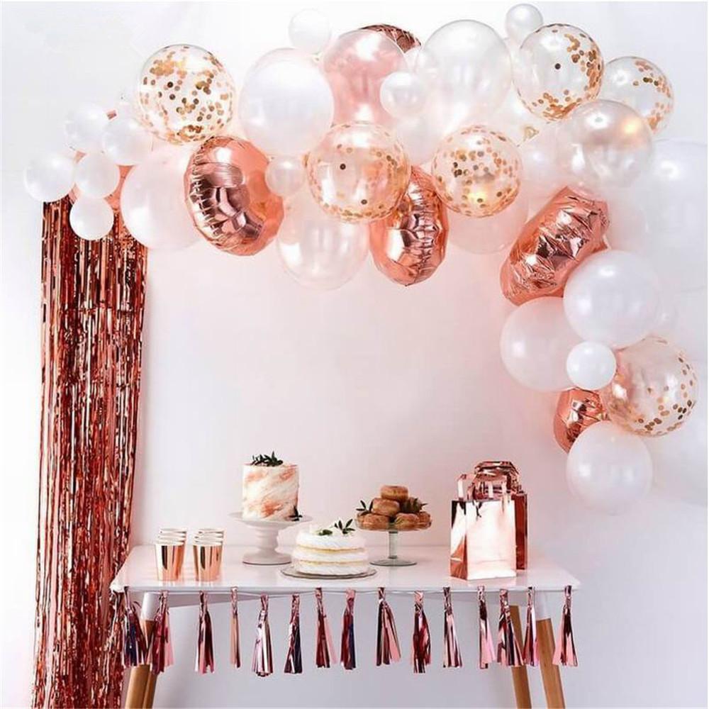 66pcs / set Rose Gold Balloon Arch Kit Blanco Latex Globo Fiesta Bodas Guirnalda Globos Baby Shower Suministros Fondo Decoración T200104