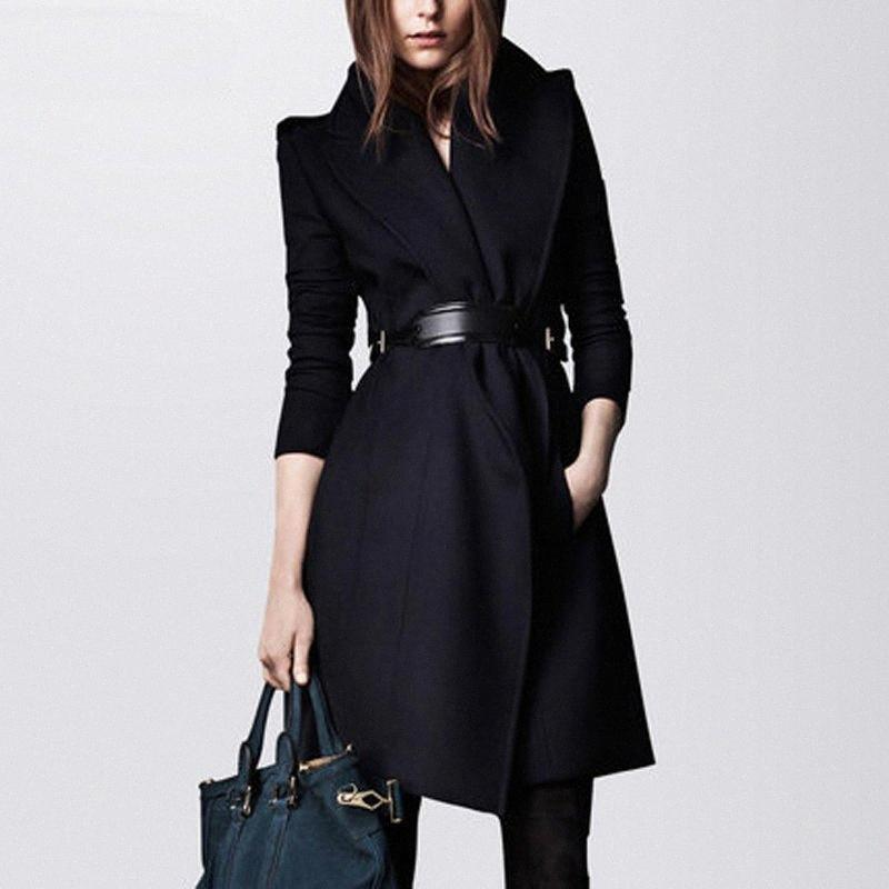 England Style Slim Women's Wool Coat 2017 Fashion Women's Woolen Jackets And Coats With Belt Turn-Down Collar Overcoat GQ1674 br25#