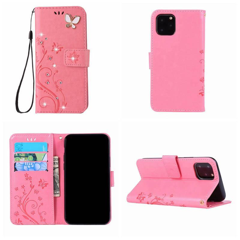 Bling diamante farfalla 3D Portafoglio in pelle per Iphone 12 MINI 12 Pro MAX 2020 11 XR XS MAX 8 7 6 Flower + cinghia da Holder copertura di vibrazione