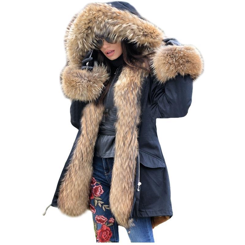Lavelache Uzun Parka Gerçek Kürk Kış Ceket Kadınlar Doğal Gerçek Fox Kürk Palto Giyim Streetwear Rahat Boy Yeni LJ201130