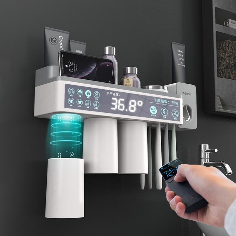 Porta-escovas de banho Acessórios dentífrico espremedor Dispenser armazenamento prateleira Set Para Banho Magnetic Adsorção Com a Copa C1003