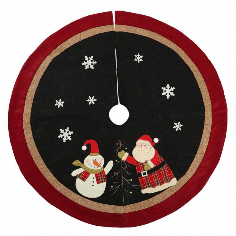 Non-Woven Christmas Tree Skirt Aprons Golden Edge Santa And Snowman Decoration For Home Xmas Tree Skirt New Year Supplies NM ovnN#