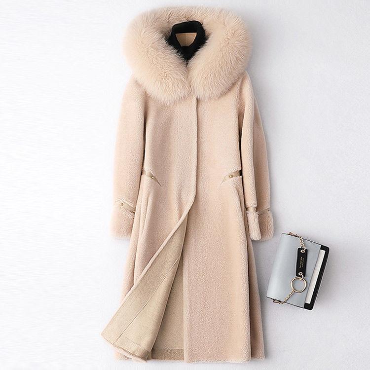 2020 chaqueta de la manera mujeres del invierno cubre piel natural real cuello de piel con capucha larga floja abrigos esquimales Prendas de vestir exteriores grande Q250