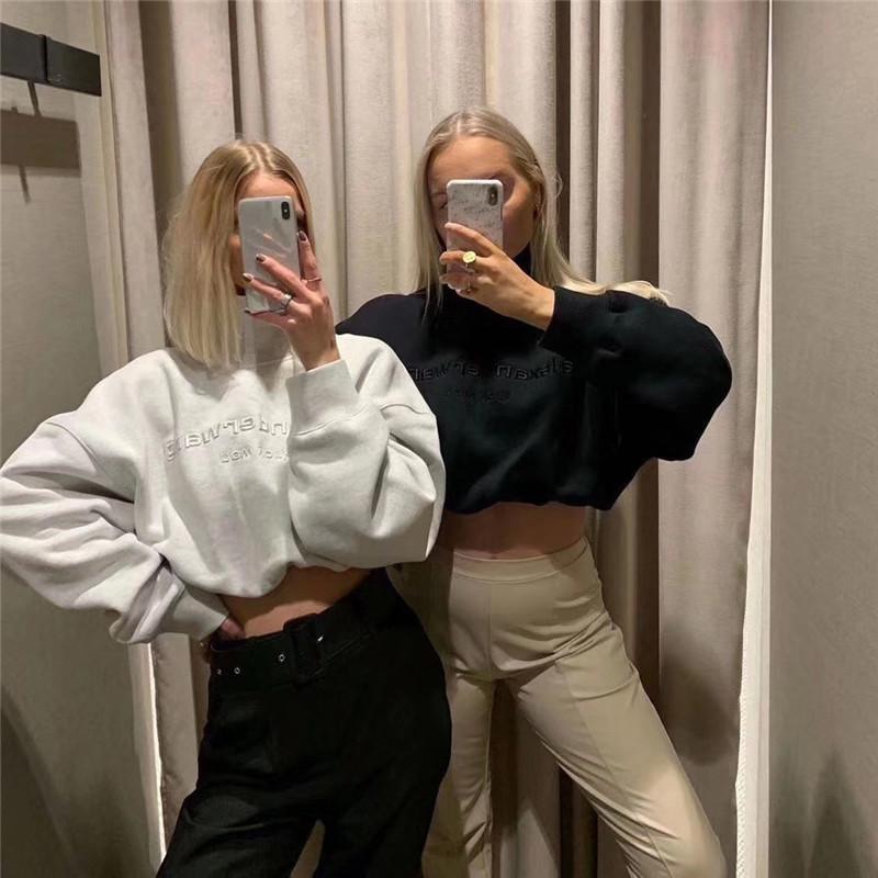 2020 весна осень Мода Новые Короткие Стиль вышивки Толстовка высокой талией с длинным рукавом Блузка для печати Толстовка