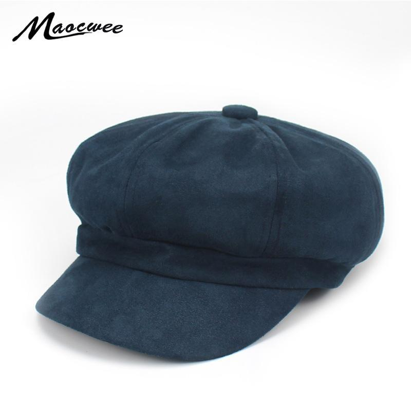 Berets zamszowe beret czapka dla kobiet Ciepła Outdoor Jesień Dziewczyna Kapelusz Gołe Chapeu Feminino Sboy Army Ośmioboczna kość