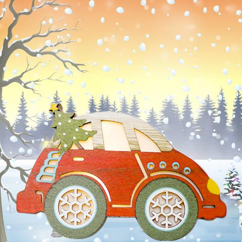 Tree Pendants Wooden Car Kids Gift Festival Lighted Ornaments Home Crafts Decorations Christmas DIY Painted Mini Party