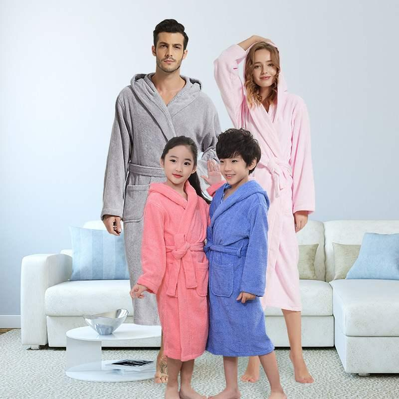 Ropa de dormir de las mujeres Robe de la familia Niño Adulto Chicas con capucha Toalla de toalla de Terry Tobas de algodón Albornoz SofeProbe Niños Casual Homewear Invierno Sólido B