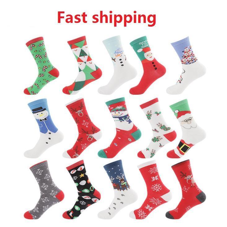 15 개 색상 남성 여성 크리스마스면 양말 스케이트 보드 중앙 튜브 양말 폰 눈사람 여성 패션 스포츠 양말 힙합