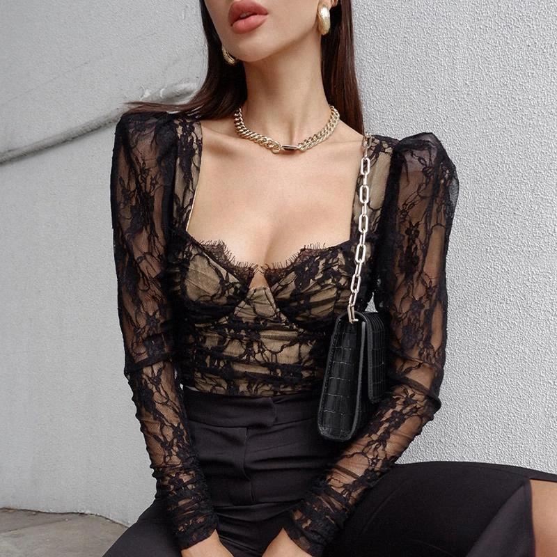 T-shirt vintage centre commercial Goth Brialette Lace voir à travers les t-shirts à manches longues Femmes Elegant Esthétique Sexy Corset Tops # BM1S
