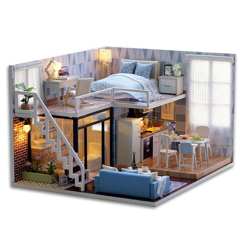 DIY دمية منزل خشبي دمية المنازل مصغرة دمية الأثاث كيت مع أدى لعب للأطفال هدية عيد T200116