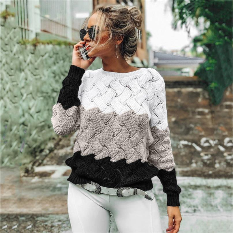 Womens Sweaters Ladies Fashion Autumn Winter Casual Knitwear Slim Fit Long Sleeve Stripe O neck Knitted Sweater Tops A40